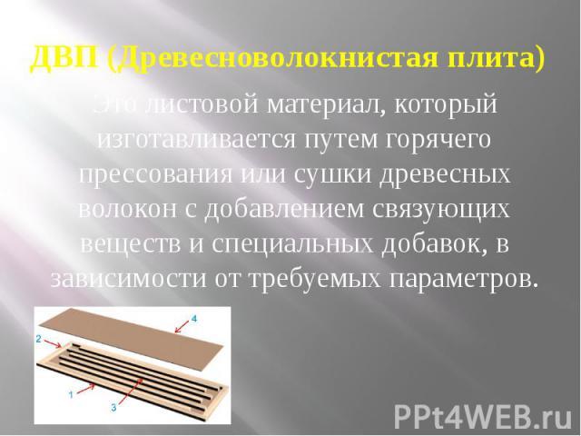 ДВП (Древесноволокнистая плита) Это листовой материал, который изготавливается путем горячего прессования или сушки древесных волокон с добавлением связующих веществ и специальных добавок, в зависимости от требуемых параметров.