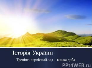 Історія України Тренінг: первісний лад – княжа доба