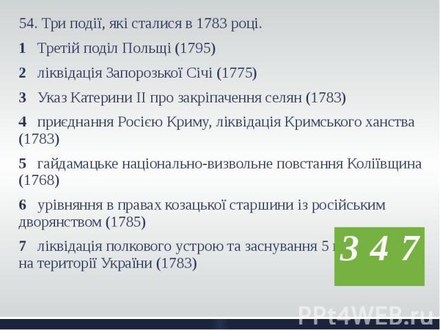 54. Три події, які сталися в 1783 році. 54. Три події, які сталися в 1783 році. 1 Третій поділ Польщі (1795) 2 ліквідація Запорозької Січі (1775) 3 Указ Катерини ІІ про закріпачення селян (1783) 4 приєднання Росією Криму, ліквідація Кримського ханст…
