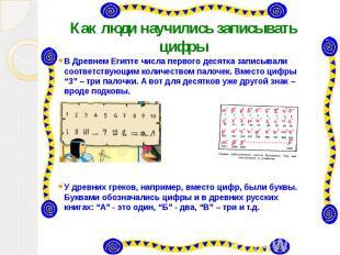 Как люди научились записывать цифры В Древнем Египте числа первого десятка запис