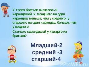 Младший-2 средний -3 старший-4 У троих братьев оказалось 9 карандашей. У младшег