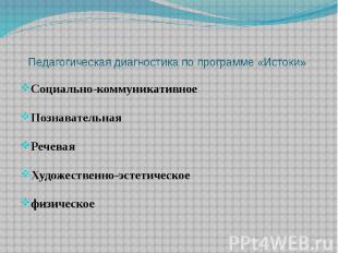 Педагогическая диагностика по программе «Истоки» Социально-коммуникативное Позна