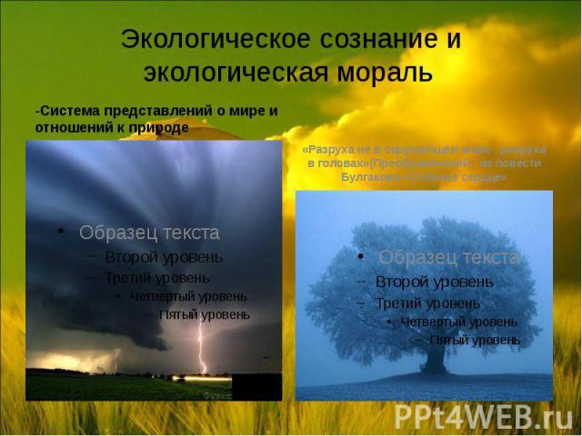 Экологическое сознание и экологическая мораль -Система представлений о мире и отношений к природе
