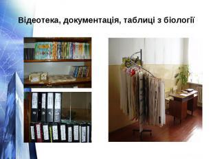Відеотека, документація, таблиці з біології