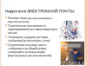 Наличие спама(массовые рекламные и вирусные рассылки) Наличие спама(