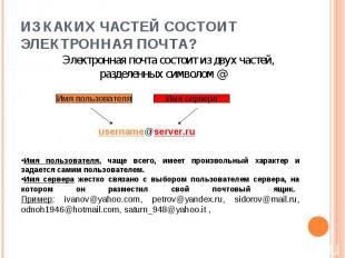 Электронная почта состоит из двух частей, разделенных символом @ Электронная поч