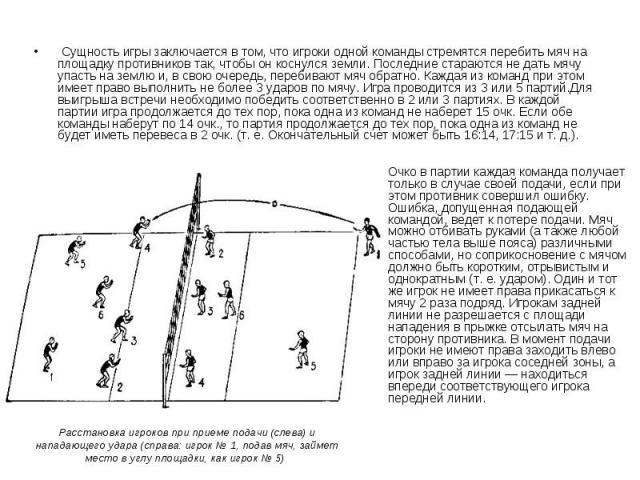 Сущность игры заключается в том, что игроки одной команды стремятся перебить мяч на площадку противников так, чтобы он коснулся земли. Последние стараются не дать мячу упасть на землю и, в свою очередь, перебивают мяч обратно. Каждая из команд…