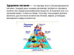 Здоровое питание — это прежде всего сбалансированное питание. Каждый день нашему