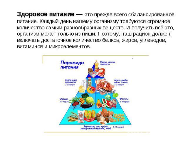 Здоровое питание — это прежде всего сбалансированное питание. Каждый день нашему организму требуются огромное количество самым разнообразных веществ. И получить всё это, организм может только из пищи. Поэтому, наш рацион должен включать достаточное …