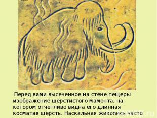 Перед вами высеченное на стене пещеры изображение шерстистого мамонта, на которо