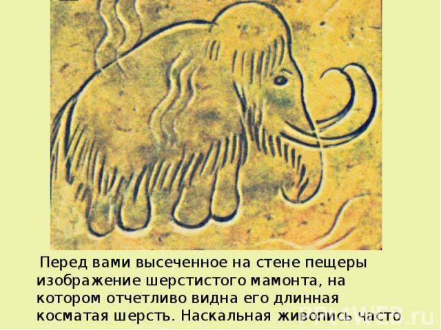 Перед вами высеченное на стене пещеры изображение шерстистого мамонта, на котором отчетливо видна его длинная косматая шерсть. Наскальная живопись часто показывает нам как выглядели доисторические животные. Перед вами высеченное на стене пещеры изоб…