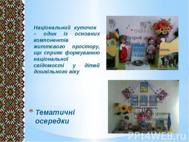 Тематичні осередки Національний куточок – один із основних компонентів життєвого простору, що сприяє формуванню національної свідомості у дітей дошкільного віку