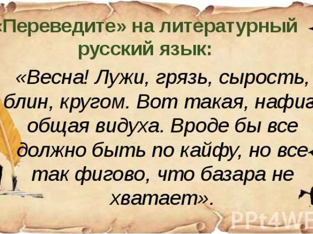 «Переведите» на литературный русский язык: «Весна! Лужи, грязь, сырость, блин, кругом. Вот такая, нафиг, общая видуха. Вроде бы все должно быть по кайфу, но все так фигово, что базара не хватает».
