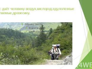 4.Лес даёт человеку воздух,кислород,еду,полезные ископаемые,древесину.