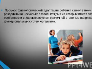 Процесс физиологической адаптации ребенка к школе можно разделить на несколько э
