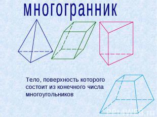 многогранник Тело, поверхность которого состоит из конечного числа многоугольник
