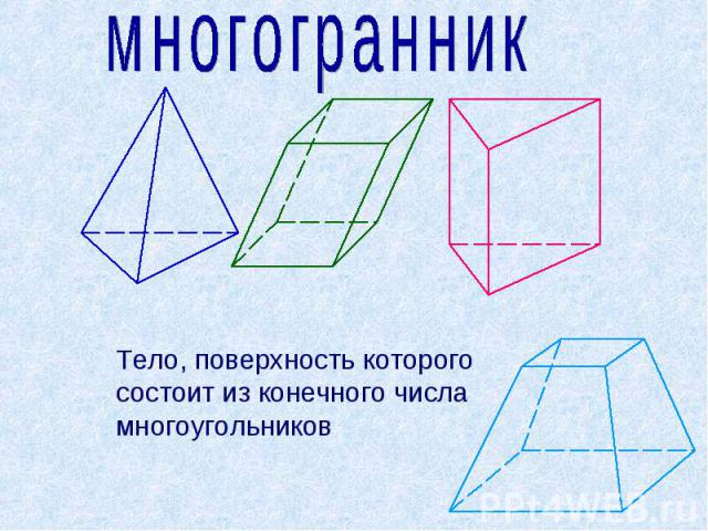 многогранник Тело, поверхность которого состоит из конечного числа многоугольников