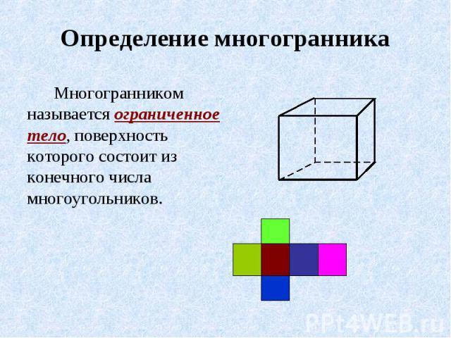 Определение многогранника Многогранником называется ограниченное тело, поверхность которого состоит из конечного числа многоугольников.