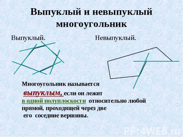 Выпуклый и невыпуклый многоугольник Многоугольник называется выпуклым, если он лежит в одной полуплоскости относительно любой прямой, проходящей через две его соседние вершины.
