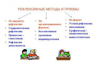 РЕФЛЕКСИВНЫЕ МЕТОДЫ И ПРИЕМЫ По предмету рефлексии: Содержательная рефлексия;Цен