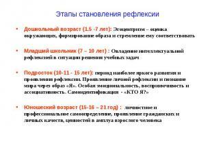 Этапы становления рефлексии Дошкольный возраст (1.5 -7 лет): Эгоцентризм – оценк