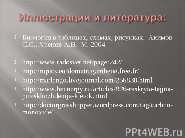 Иллюстрации и литература: Биология в таблицах, схемах, рисунках. Акимов С.С., Хренов А.В. М. 2004http://www.radosvet.net/page/242/http://rupics.eu/domain/gambette.free.fr/http://marlengo.livejournal.com/256838.htmlhttp://www.beenergy.ru/articles/826…