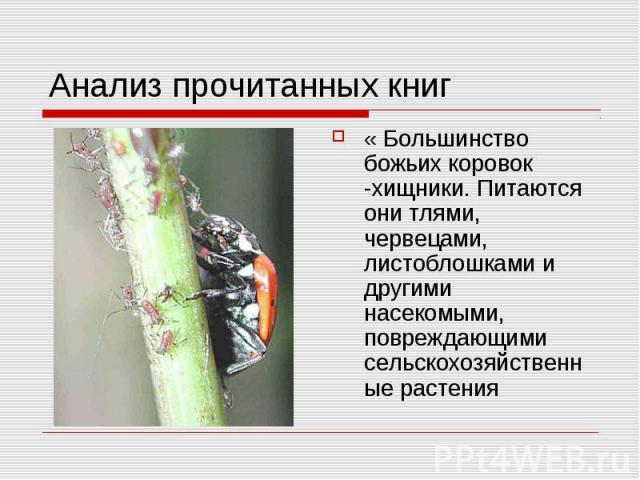 Анализ прочитанных книг « Большинство божьих коровок -хищники. Питаются они тлями, червецами, листоблошками и другими насекомыми, повреждающими сельскохозяйственные растения
