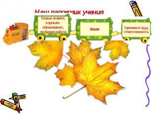 Наш паровозик учения Новые знания,хорошее образование,любимая работаВоляТерпение