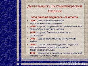 Деятельность Екатеринбургской епархии ОБЪЕДИНЕНИЕ ПЕДАГОГОВ –ПРАКТИКОВ 2001 г. в