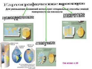 Картографические проекцииДля уменьшения искажений используют специальные способы