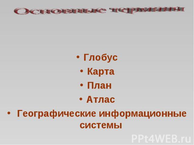 Основные термины ГлобусКартаПлан Атлас Географические информационные системы