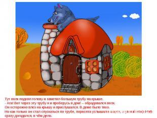 Тут волк поднял голову и заметил большую трубу на крыше.- Ага! Вот через эту тру