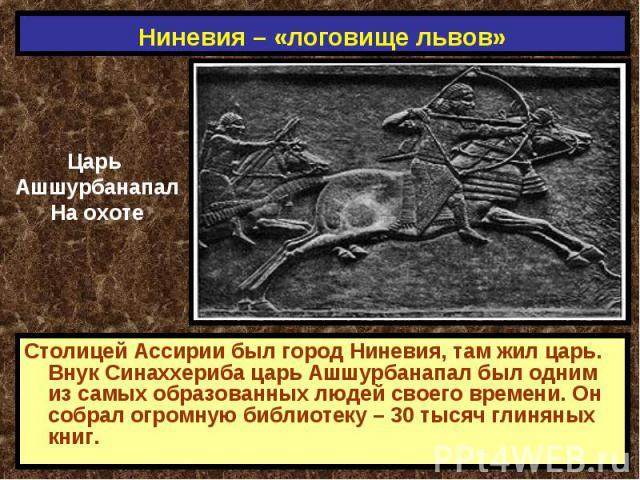 Ниневия – «логовище львов» Царь АшшурбанапалНа охотеСтолицей Ассирии был город Ниневия, там жил царь. Внук Синаххериба царь Ашшурбанапал был одним из самых образованных людей своего времени. Он собрал огромную библиотеку – 30 тысяч глиняных книг.