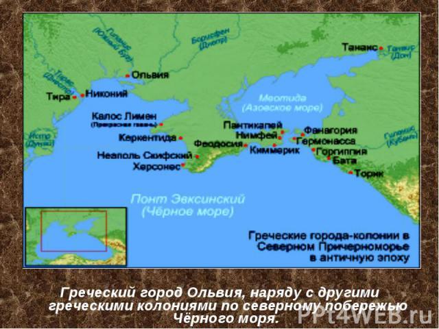 Греческий город Ольвия, наряду с другими греческими колониями по северному побережью Чёрного моря.
