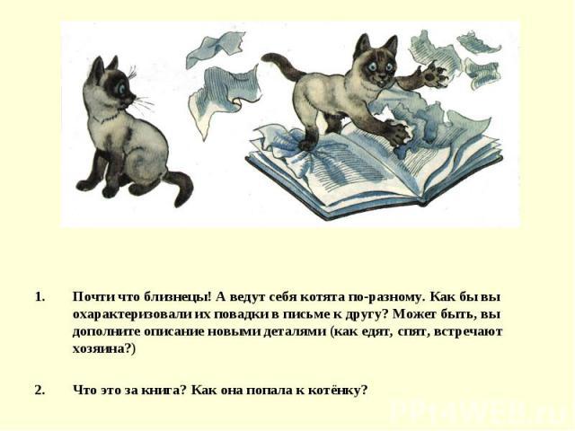Почти что близнецы! А ведут себя котята по-разному. Как бы вы охарактеризовали их повадки в письме к другу? Может быть, вы дополните описание новыми деталями (как едят, спят, встречают хозяина?)Что это за книга? Как она попала к котёнку?