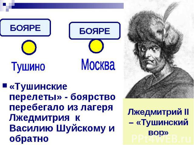«Тушинские перелеты» - боярство перебегало из лагеря Лжедмитрия к Василию Шуйскому и обратноЛжедмитрий II – «Тушинский вор»