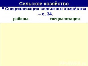 Сельское хозяйство Специализация сельского хозяйства – с. 34.