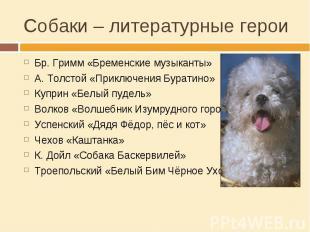 Собаки – литературные герои Бр. Гримм «Бременские музыканты»А. Толстой «Приключе