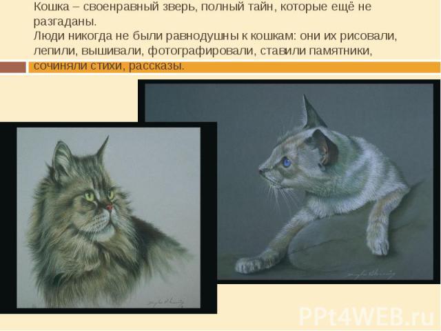 Кошка – своенравный зверь, полный тайн, которые ещё не разгаданы.Люди никогда не были равнодушны к кошкам: они их рисовали, лепили, вышивали, фотографировали, ставили памятники, сочиняли стихи, рассказы.