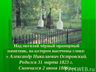 Над могилой чёрный мраморный памятник, на котором высечены слова: « Александр Ни