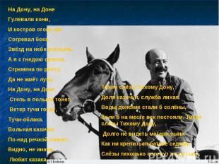 На Дону, на Доне Гулевали кони, И костров огонь им Согревал бока. Звёзд на небе