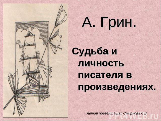 А. Грин. Судьба и личность писателя в произведениях Автор презентации: Смирнова Л.В