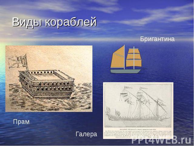Виды кораблей Бригантина ПрамГалера