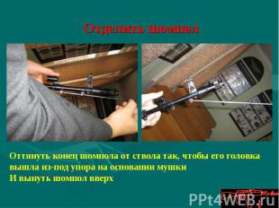 Отделить шомпол Оттянуть конец шомпола от ствола так, чтобы его головка вышла из
