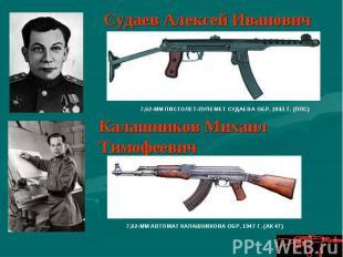 Судаев Алексей Иванович7,62-ММ ПИСТОЛЕТ-ПУЛЕМЕТ СУДАЕВА ОБР. 1943 Г. (ППС)Калашн