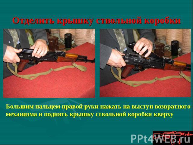 Отделить крышку ствольной коробки Большим пальцем правой руки нажать на выступ возвратного механизма и поднять крышку ствольной коробки кверху