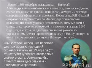 Весной 1864 года брат Александра— Николай Александрович— отправился за границу