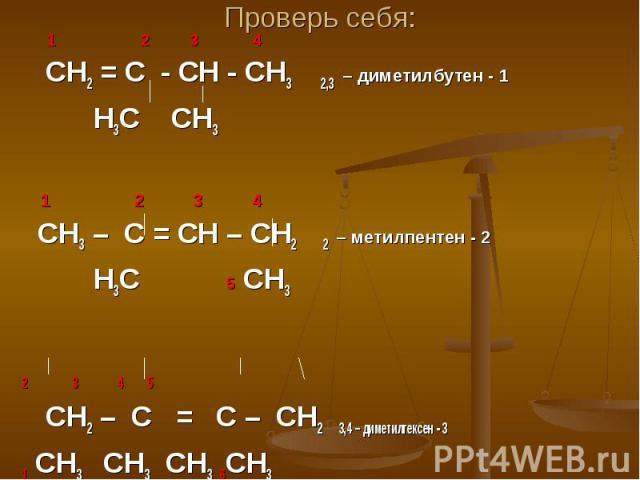 Проверь себя: 1 2 3 4 СН2 = С - СН - СН3 2,3 – диметилбутен - 1 Н3С СН3 1 2 3 4 СН3 – С = СН – СН2 2 – метилпентен - 2 Н3С 5 СН3 2 3 4 5 СН2 – С = С – СН2 3,4 – диметилгексен - 3 1 СН3 СН3 СН3 6СН3