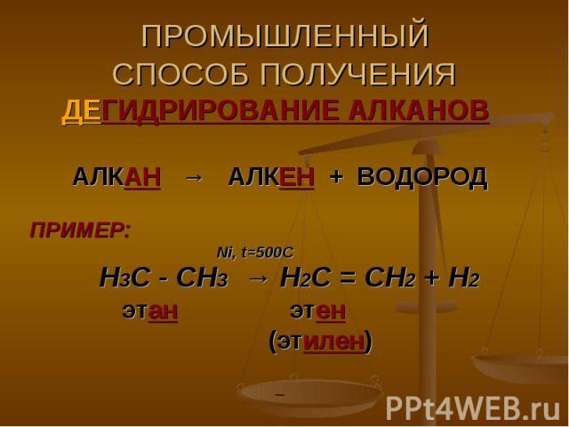 ПРОМЫШЛЕННЫЙСПОСОБ ПОЛУЧЕНИЯ ДЕГИДРИРОВАНИЕ АЛКАНОВ АЛКАН → АЛКЕН + ВОДОРОДПРИМЕР: Ni, t=500C Н3С - СН3 → Н2С = СН2 + Н2 этан этен (этилен)