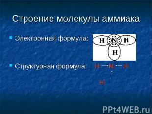 Строение молекулы аммиака Электронная формула:Структурная формула: H N H H
